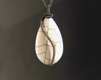 Ivory white necklace, white stone necklace, copper jewelry, natural howlite pendant