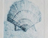 Original etching print of a scallop sea shell in indigo