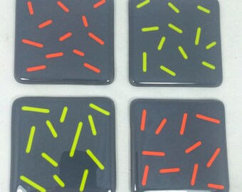 Fused Glass Coasters Slate Grey with neon green and orange  - set of 4 MTO