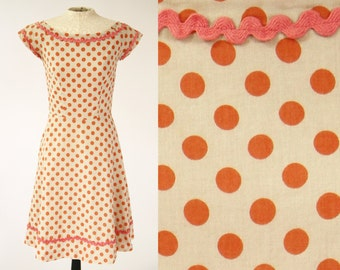 Vintage 1950s Polka Dot Dress Coral Cotton with Pink Ric Rac Nikki Valenti