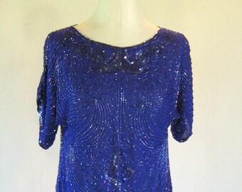 Blue Beaded Zimble Sequin Slouchy Shirt Top