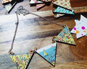 SALE! Where's Wally? Mini Bunting Triangle Necklaces.