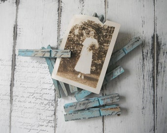 wedding favours hand stamped pegs bridal shower decor something blue pegs weathered altered clothes pins shabby cottage chic wedding 8PC