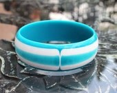 Striking Layered Lucite Bangle, Teal and White - Best Plastics ca. 1960s