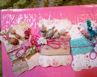 3 Retro Fab Stick, Gift, Corsage, Hat, Party, Trinket Decorated Sewing PINS, BUTTON, Shabby Chic Fabric Printed TAGS/Cards - Gorgeous