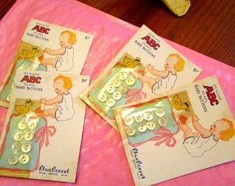 """Rare - 1930's BABY ABC - BUTTON Cards: """"Blue Bonnet"""" White Baby Mother of Pearl Vintage Original, Unused - Each w/8 Buttons - New Old Stock"""