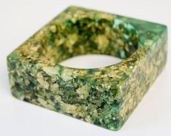 aqua green statement bangle eco resin square bracelet with suspended gold leaf