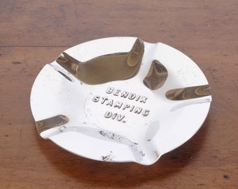 Vintage Bendix Corporation ashtray, chrome metal, Stamping Division, advertising, automotive, aviation, South Bend, Indiana,  tobacciana
