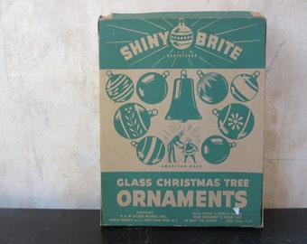 One box of midcentury Shiny Brites / Christmas ornaments / original box / pink gold / decor Christmas tree wreath
