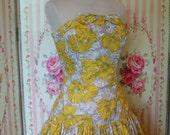 1950s Strapless Sun Dress / Matching Bolero Jacket / Full Tiered Skirt / Boned Bodice / by Mademoiselle / M Medium / 28 29 Waist