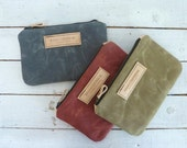waxed canvas pouch / make up bag / satchel