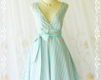 My Lady II Spring Summer Sundress Blue/Pink Stripe Dress Garden Party Tea Dress Blue Bridesmaid Dress Vintage Design XS-XL