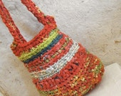 Red and green crochet bag - girl's bag