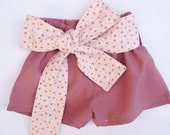 Baby girl shorts - toddler shorts - baby bloomers -with sash / belt - shorts -dusty pink -ditsy floral -pink -girls clothes - summer clothes