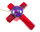 Dichroic Cross Pin AND Pendant - Red Crimson with Polka Dotted Purple Violet Grape Plum Dichro  - 1.75 Inch Clear Cranberry Red