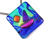 "SAILBOAT Sailing at Sunset - Dichroic Pendant AND Pin Combo - Blue Green Teal Tie Dye Copper Purple Pink Dichro Fused Glass - 1.5"" Inch 4cm"