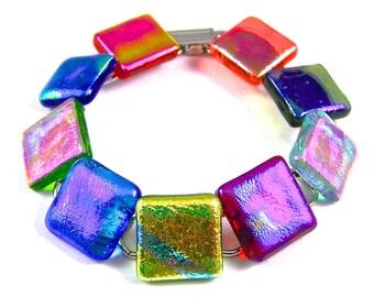 "Colorful Bracelet in Dichroic Glass - Orange Yellow Blue Green Rainbow Tie Dye Metallic Iridescent Rainbow Stained Glass- 3/4"" x 7.5"" - 2cm"