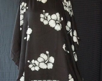 Poncho, Caftan, Bathing Suit Cover Up, Maternity Top ~ Black Hibiscus Flower