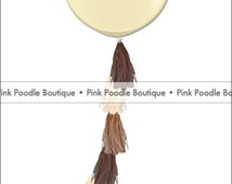 """Ivory/Brown Ombre Giant 36"""" BALLOON & TASSEL TAIL --- you choose the colors"""
