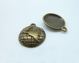 20pcs 15mm Antique Bronze Mini Globe Charm Pendant C394