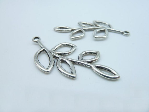 15pcs 40x20mm Antique Silver Filigree Tree Five Leaves Leaf Charm Pendant  c2495