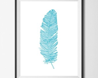 Feather Print Feather Art Scuba Blue Feather Aqua Blue Feather Teal Feather Modern Boho Beach Picture Poster Printable Summer Ink Drawing