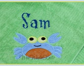 Beach Towel Personalized Boys Girls YOU DESIGN Applique Bath Crab Boutique Style You Design