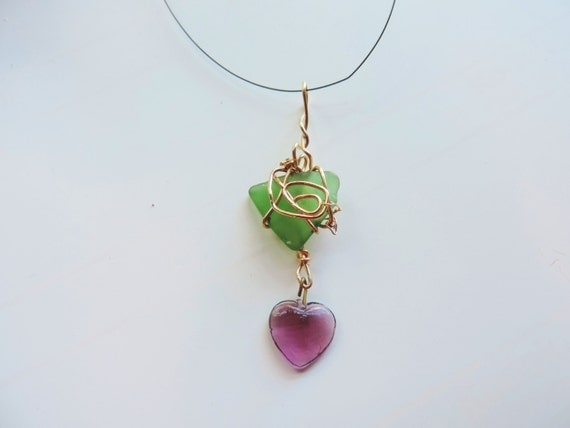 Hawaiian Jade Green Sea Glass Beachcombed Gold Wire Wrap Heart Crystal Genuine Lucky Sea Glass Jewelry Beach Glass pendant