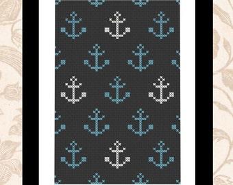 Anchor me - sailor sea themed PDF cross stitch pattern