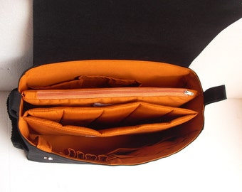 Large Bag organizer for Tote Bag with two divider compartment and Magnetic flap closure - Zipper and Laptop case.