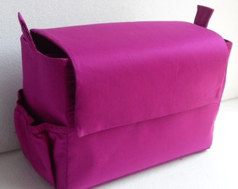 Extra taller Bag organizer with magnetic snap Flap closure to fit  LV Neverful MM in Purple fabric
