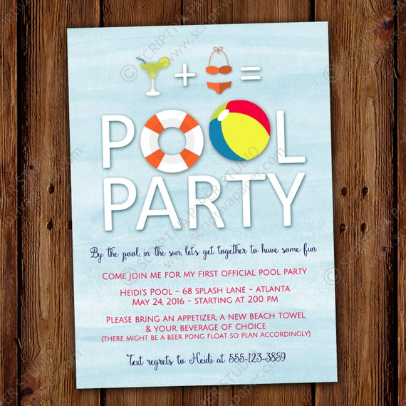 adult pool party invitation printable or printed invitations