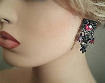 Vintage Art Deco earrings, unique medieval design - Swarovski Aurora borealis iridescent crystals - antique bronze - pierced ear decoration