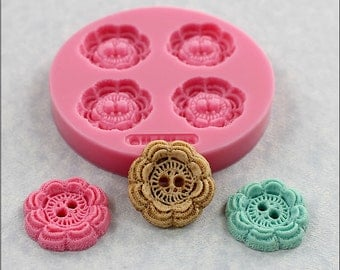 Button Mold Crochet Look Resin, Fondant, Polymer Clay, Wax, Chocolate 1 1/8 inches (358)