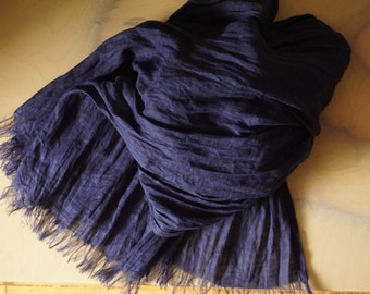 Linen Scarf in Royal blue color-Natural-Pure Linen-plain dyed