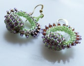 Romantic Boho Chic circle Hoops earring tiny lime amethyst  seed beads Toho finished with gold plated hooks.