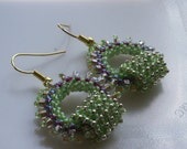Romantic Boho Chic circle Hoops earring tiny purple lime beige gold seed beads Toho finished with gold plated hooks.