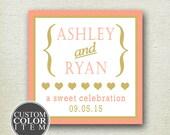 Personalized Wedding Favors - Audrey Design - Wedding Favor Labels // Square Favor Labels // Bridal Shower Favor Labels //