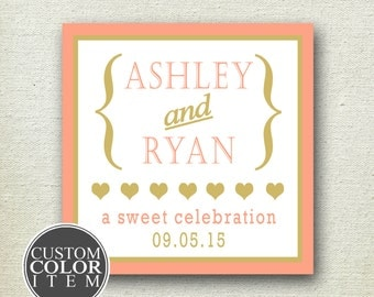 Personalized Wedding Favors - Audrey Design - Wedding Favor Labels // Square Favor Labels // Bridal Shower Favor Labels //