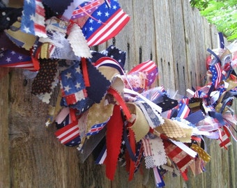 Red White and Blue Bunting, Patriotic Bunting, Patriotic Garland, Memorial Day Decor, Patriotic Swag, 4th of July Decor, Military Banner