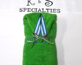 Bright Green Cozy Hooded Towel Accented With A Blue Stripe Ribbon/Monogrammed Name/Gift:Shower,Birthday,WeddingParty,Beach,Pool,Fun Unique