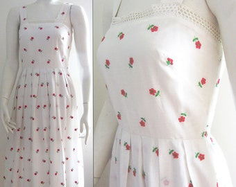 vintage 70s 80s sundress summer dress white red flowers small