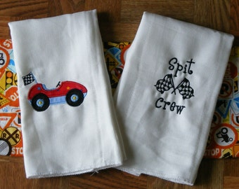 Personalized Racing Burp Cloth Singles