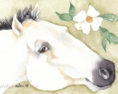Painted PONY ACEO watercolor PRINT spirit animal  totem  -  'Camile'- wild mustang - Free Shipping