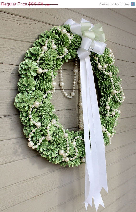 REDUCED Apple Green Glitter Pinecone Wreath, White Pearl Garland, White and Green Bow