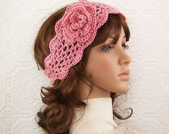 Crochet trellis headband, headwrap - antique rose - rose bisque - handmade in USA - womens accessories - SandyCoastalDesigns - ready to ship