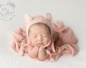 Newborn Pink Bear Bonnet