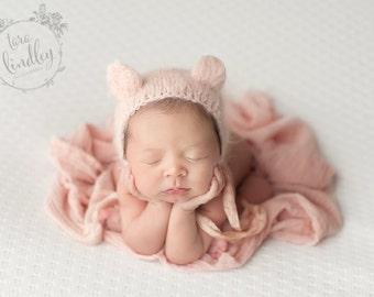 Pink Bear Bonnet (Newborn)