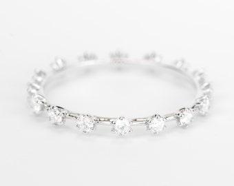 CERTIFIED - E-F , VVS-VS Diamond Wedding Full eternity Band 14K White Gold