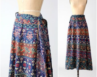 vintage 70s maxi wrap skirt, blue block print skirt